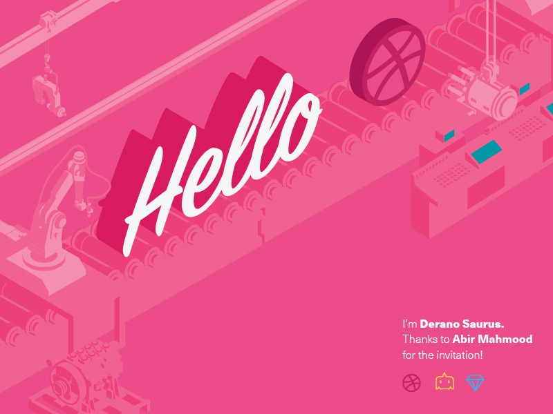 Hello Dribbble! plant factory thank isometric illustration debut