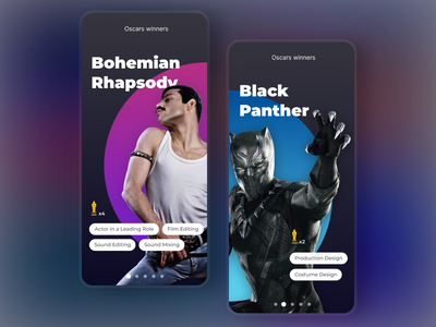 Oscars 2019 Concept UI purple oscars 2019 oscars cinema film movies movie concept interface marvel freddie mercury black panther black and blue dark black awards award app