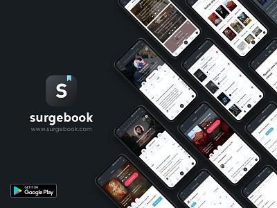 Surgebook app application marketing promo ui