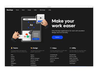 Bestapp.link home page hero 3d dark ui web design homepage website