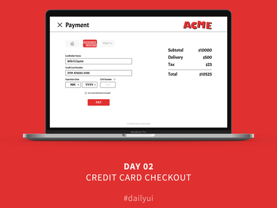 ACME Checkout checkout credit card checkout credit card looney tunes looney toons acme dailyui 002 ui design dailyui