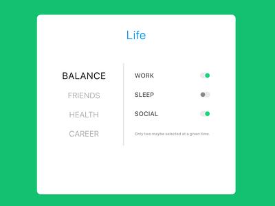 Life Settings balance social sleep work settings life design ui