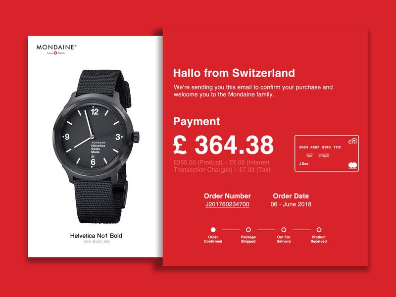 Email Receipt paid payment switzerland mondaine watch receipt email design ui