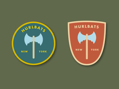 Hurlbats futura illustration badge badges axe axes crest bat bats varsity sports team logo