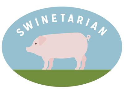 Swinetarian illustration pig mission gothic oval geometric simple sticker bumper sticker bacon pork meat farm