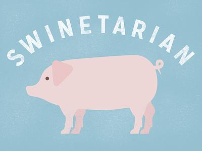Swinetarian — Final pork sticker illustration pig bacon geometric simple farm meat mission gothic lost type