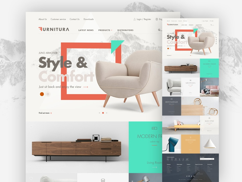 Furniture website modern style mockup wireframe house room sofa chair product furniture website