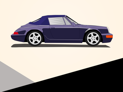 Porsche 911 | Type 964 (1989) design ui vintage card vintage illustration vintage art vintage car porsche 911 porsche old car vintage automobile photoshop illustrator car illustration design illustration