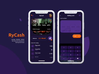RyCash money orange animation app cards payment banking dark iu dark ui bank app