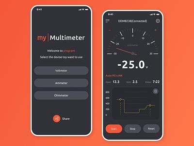 Multimeter measurement android ios voltmeter graphic ux ui application app dark ui