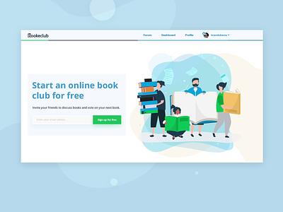 Web Design For Book Club drawing figma subscribe books web banner motion animation ui vector blue logo app ux branding typography flat design illustration webdesign graphic  design