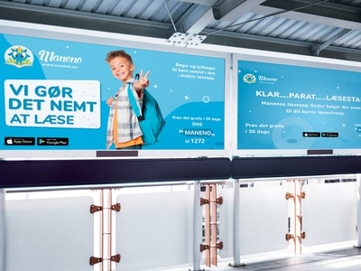The outdoor displays design for education app Maneno typography illustration graphic  design banner design outdoor banner marketing campaign promotional design kids design blue display ads
