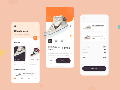 Sneakers on display app design vector 设计 ux ui