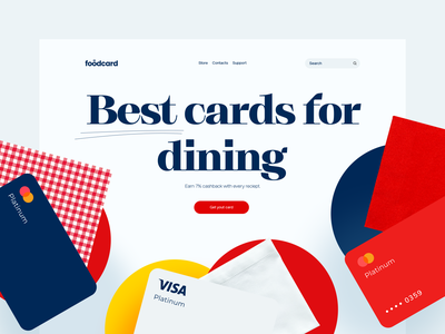 Fintech product page. Foodcard. 🍣 fintech product page credit card header design main page website design landing page