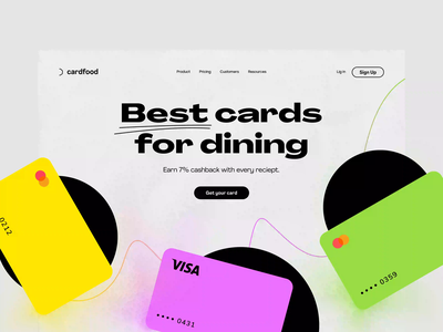 Fintech product page. Foodcard. 🍣 landing page website design header main page credit card fintech product page
