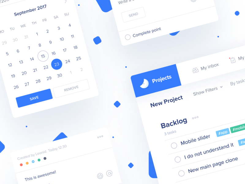 Project management UI elements 💙 project management tool project management comment datepicker saas snap dates calendar tasks manager interface space white ui ux blue teampaper snap teampaper ui