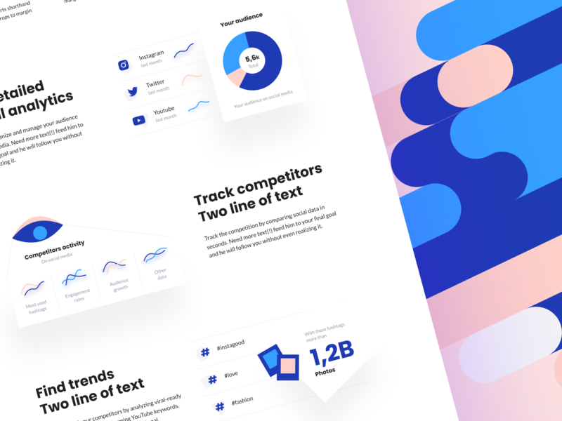 Landing page - Brandmates 👑 photos eye pie chart web website landing page illustration color brandmates ui  ux design