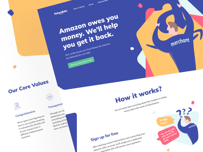 Refundlabs: Landing page 💎 bold typography header illustration blue amazon revenue back web page website web seller customer returns landing page product page platform recover money recover reimbursement refund data