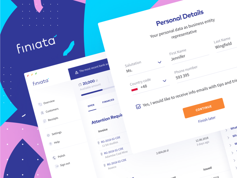 Finiata — Invoices 💸 design finance invoices color animation finiata fintech uiux finacial fin-tech landing page mobile ios app