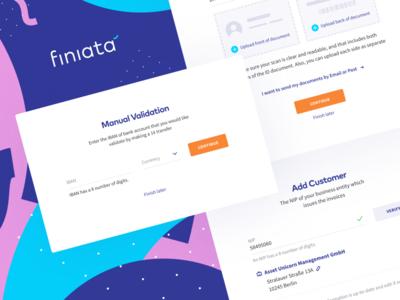 Finiata - popups 💸 app ios mobile landing page fin-tech finacial uiux fintech finiata animation color invoices finance design