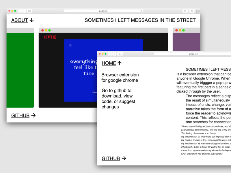 Messages Chrome Extension - Landing Page by Grace Colbert on