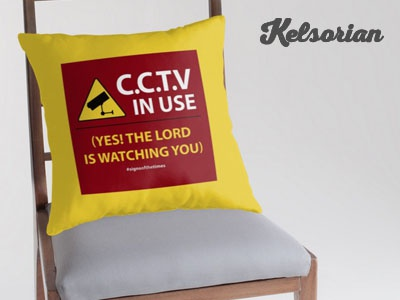 CCTV: The LORD is Watching You! - Christian Pillow Design cctv jesus evangelism christian design christianity christian yellow and red pillows