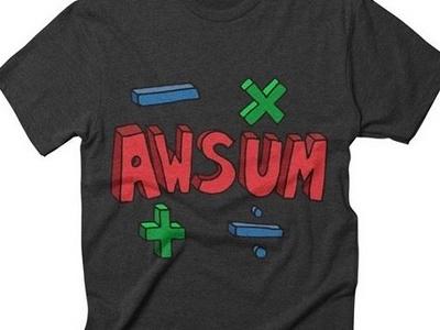 AWSUM Maths-inspired Tee minus plus divide awesome maths teedesign tshirt