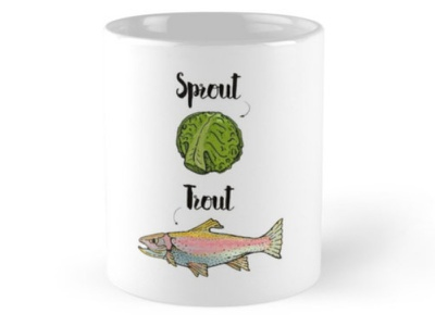 Sprout Trout Illustration freaky funny lol weird bizarre humor typography illustration vegetables fish trout sprout