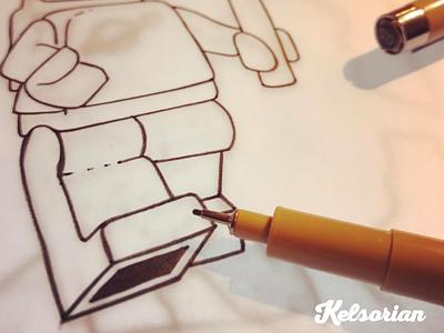 New Lego Design - Early Sketch/Trace sketching inklife tracing linedrawing andrewkelsall kelsorian legoinspiratin legoinstagram legoideas legominifigure lego