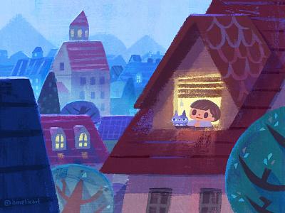 silent night cute art illustration book chikdrens