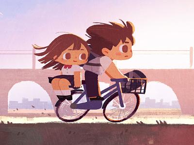 summer sunset days school young couple bike sunset