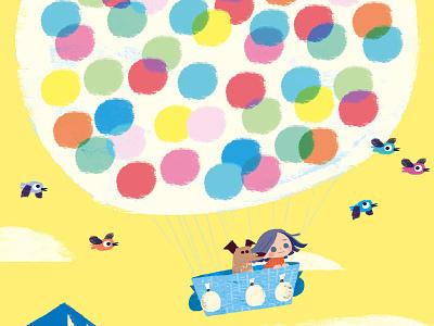 UP! illustration children book illustration colorful dream sky dog bird baloons