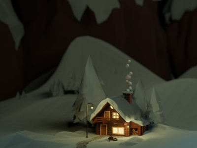 3D Wood House mountain environment tree winter snow house 3d