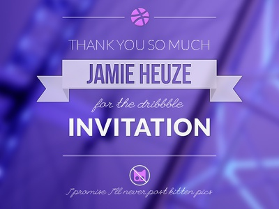 Dribbble - Thanks Jamie! vintage purple london simple clean lines thin typography thanks dribbble invitation giveaway kitten