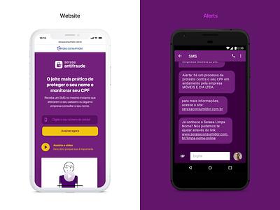 Finance Website purple desktop mobile vertical menu hero home signup sms app alerts fraud finance