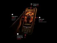 Swipe Gestures on Moviestr entertainment movies translucency dark ui ios app gestures swipe