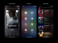 Moviestr iOS App entertainment movies mobile app translucency dark ui ios