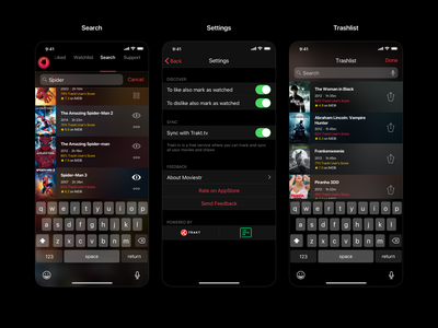 Moviestr iOS App entertainment movies mobile app translucency dark ui ios