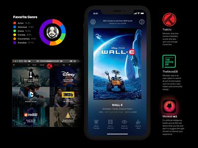 Moviestr iOS App translucency themoviedb imdb trakt entertainment movies gestures icons mobile dark ui ios app