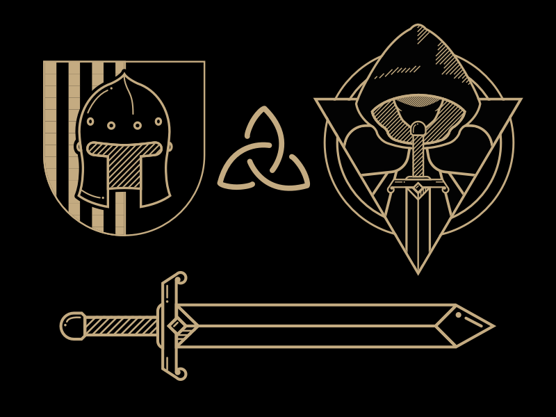 Medieval RPG Icons celtic cloak shield paladin sword knight mage medieval rpm glyphs icon