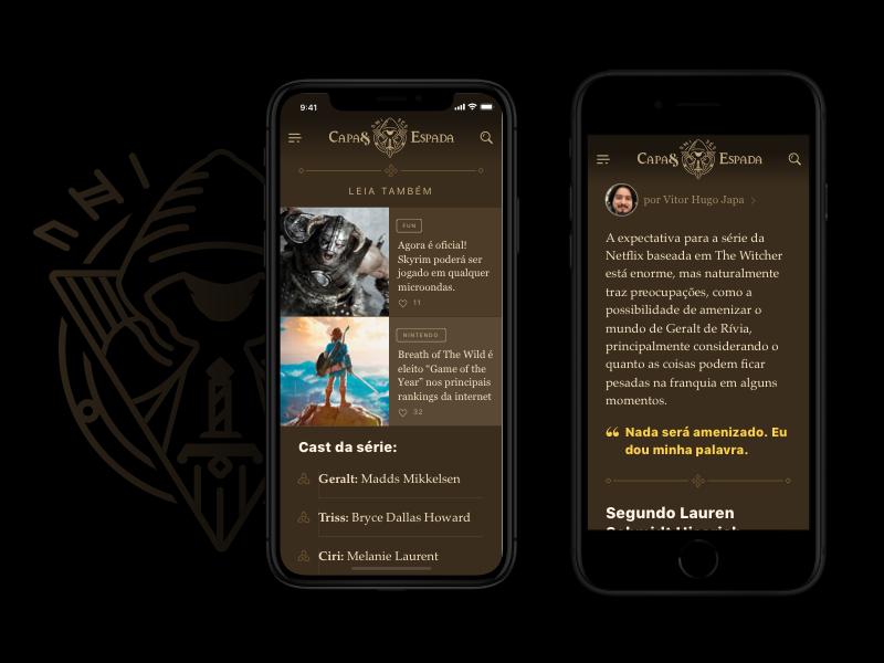 Capa & Espada Post Content skyrim zelda word black dark medieval rpg mobile theme wordpress wp