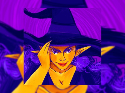 Witch texture illustration procreate girl comission art halloween witch