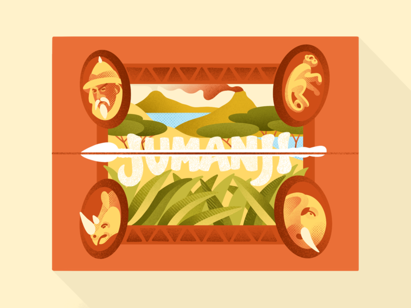 Jumanji dribbbleweeklywarmup packaging jumanji grass volcano elephant game board game animal africa nature wild ipadpro procreate type typogaphy app illustration minimal flat