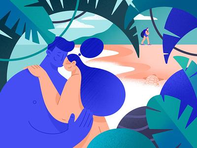 Cuddle Island sea ocean palm island cuddle hug trip travel girl character procreate ipadpro illustrator app application illustration ux ui flat minimal