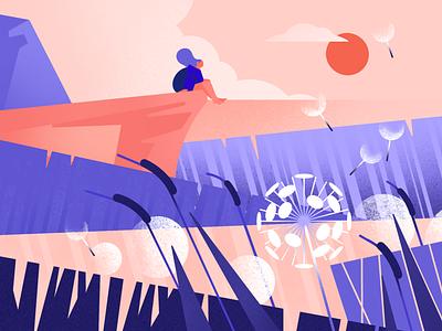 Kingdom of sleepy wind flower travel trip grass wheat field wind meadow girl character design character ui ux vector ipadpro procreate app illustration flat minimal