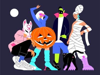Halloween guys cat mummy dracula vampire pumpkin wolf party halloween girl man characterdesign character procreate vector design web app illustration flat minimal