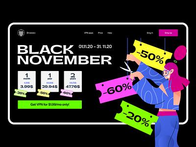 Black november service vpn girl balck friday sale landing main page hero banner character design illustration vector flat minimal ux ui webdesign web application app