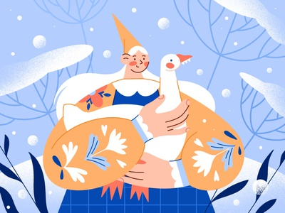 Girl and goose elf character design web dtiys character girl new year storytale snow goose christmas winter design vector ui challenge procreate illustration flat minimal