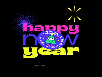 Happy New 2021 Year fireworks sticker christmas tree xmas christmas happy new year new year character design app web ui illustrator typogaphy typo poster vector illustration flat minimal