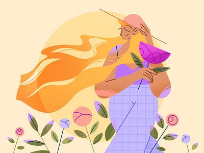Sunshine summer nature people procreate texture 2d morning spring flower sun girl illustrator vector web app characterdesign character illustration flat minimal